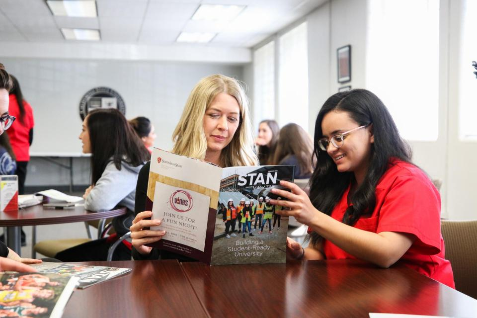 Students with book