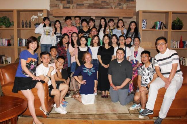 Hubei University Students group photo