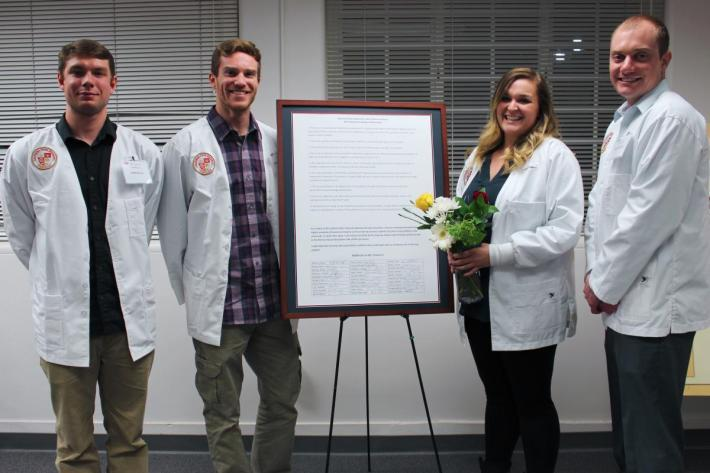 Students participating in the White Coat Ceremony